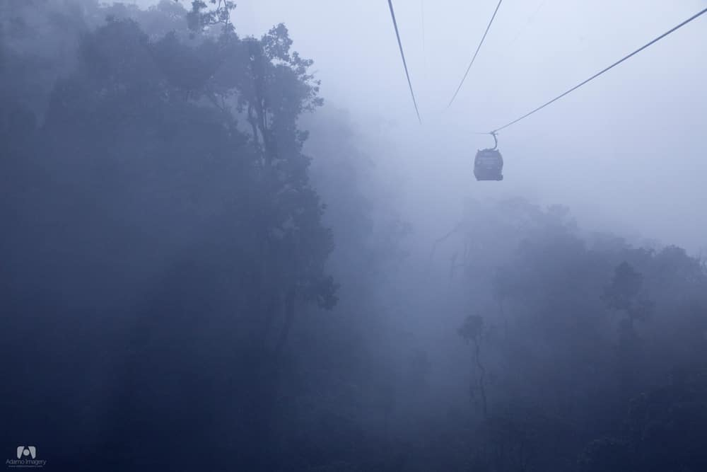 Taking a cable car up to Bà Nà Hills.