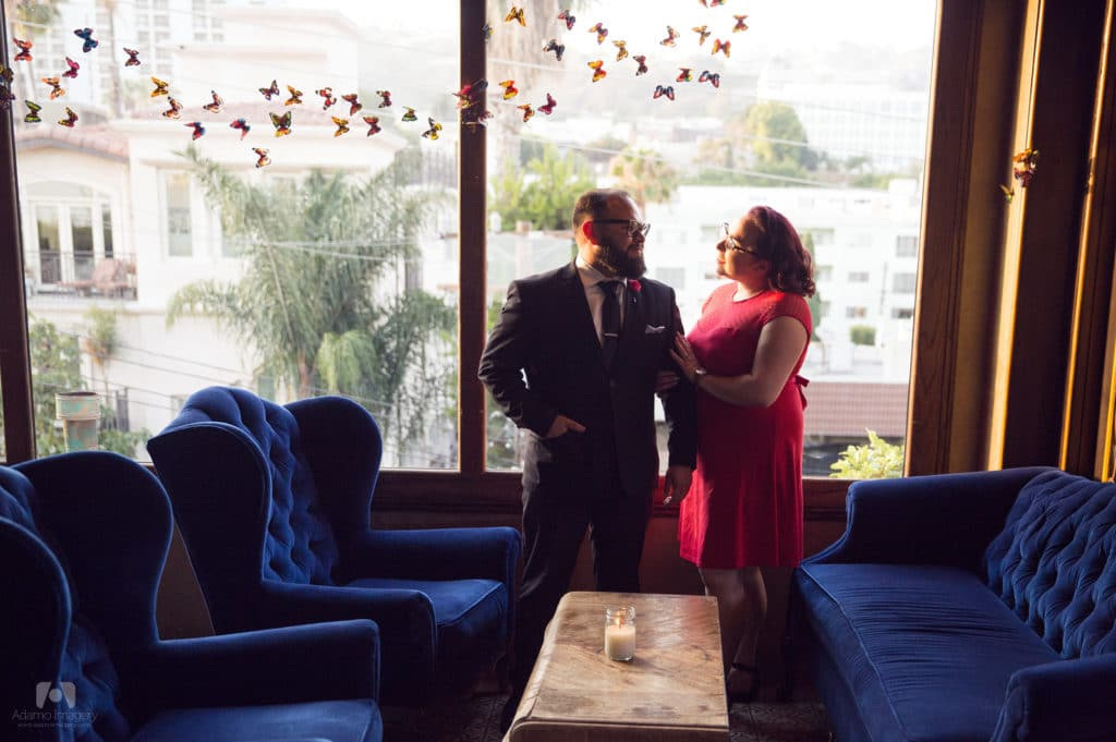 Surprise wedding proposal at the Petit Ermitage in West Hollywood.